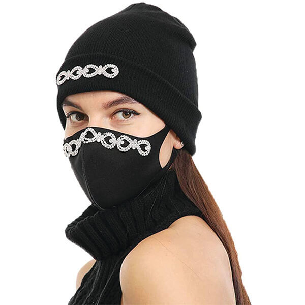 Rhinestones Face Mask and Beanie