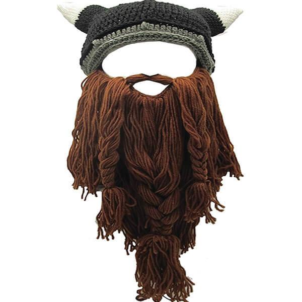 Viking Horn Beanie With Detachable Beard for Halloween Look