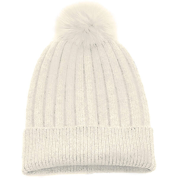Angelic White Pom-pom Beanie for Real Fur Lovers
