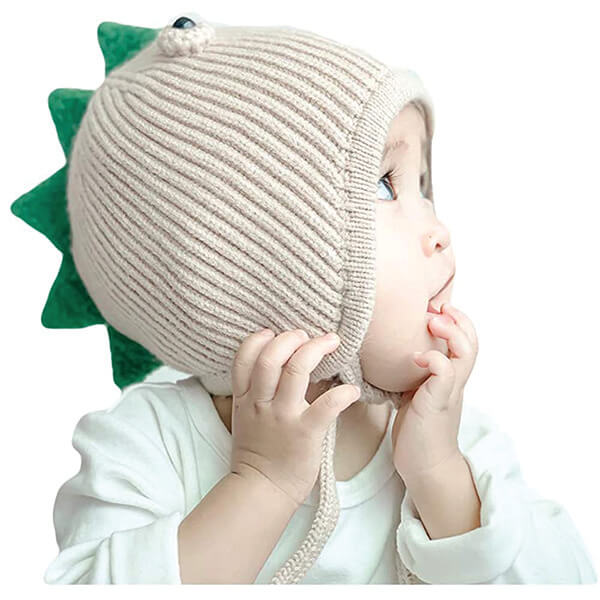 Dinosaur Beanie With Protruding Horns for 0-5 Years