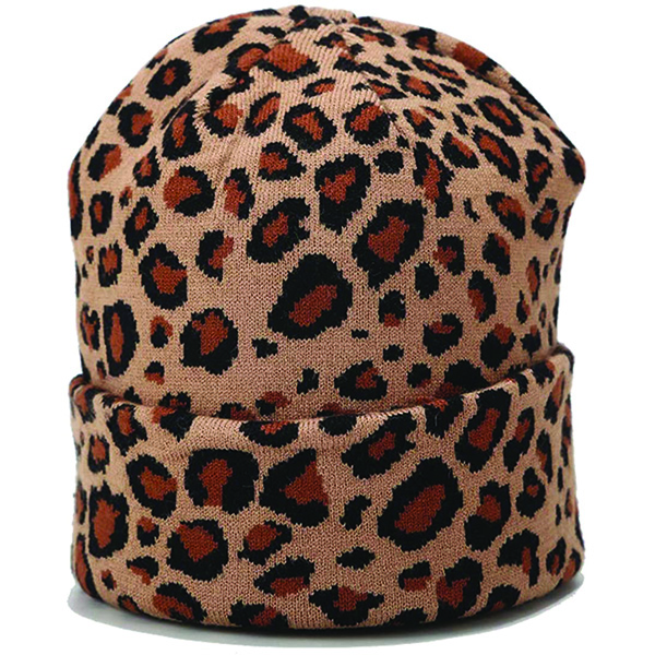 Double Layered Leopard Print Beanie for Cold Temperatures