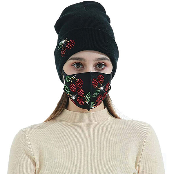 Knitted Rhinestones Beanie with Mask Face Cover