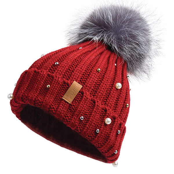 Pearl Beanie With Ball On Top
