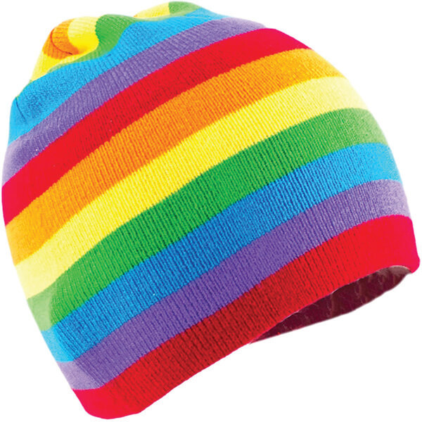 Winter Beanie with Thin Multi-Colored Stripes