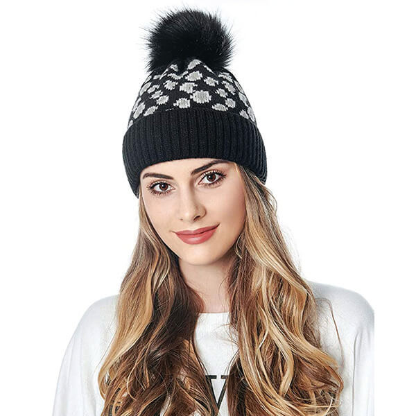 Animal Print Beanie With Ball On Top