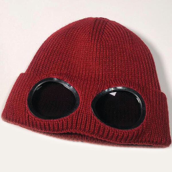 Double Layered Beanie With Removable Goggles