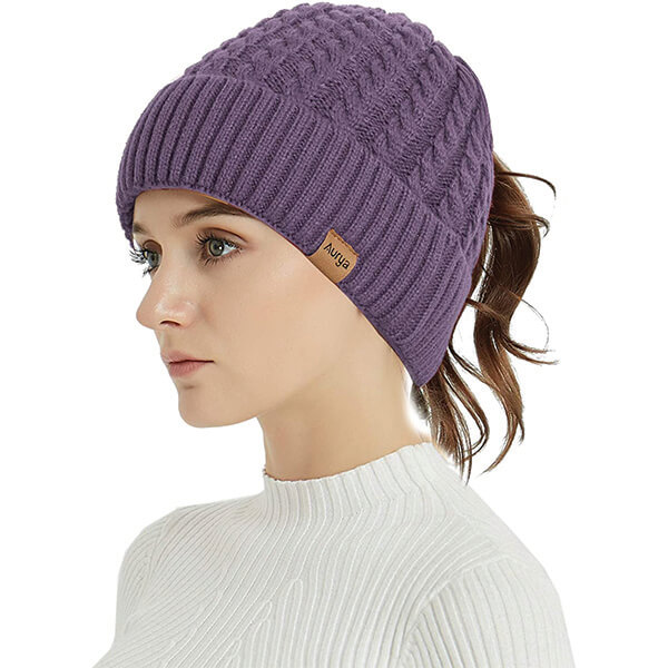 Ponytail Hole Cuffed beanie for Women