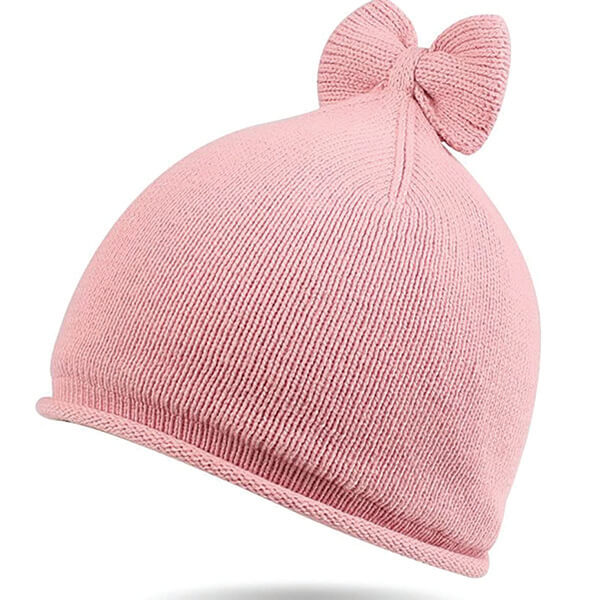 100% Cotton Beanie With a Big Bow On Top