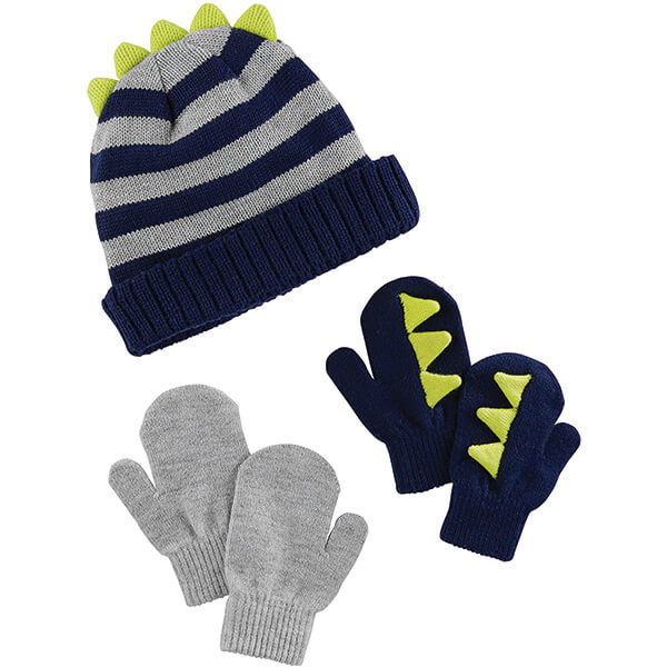 Dinosaur Beanie With Two Pairs of Mittens