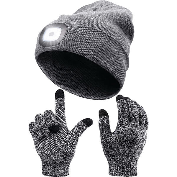 Silicon Screen Touch Gloves With Light Up Beanie