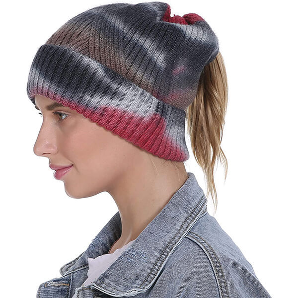 Unique Slouchy Beanie With Ponytail Hole