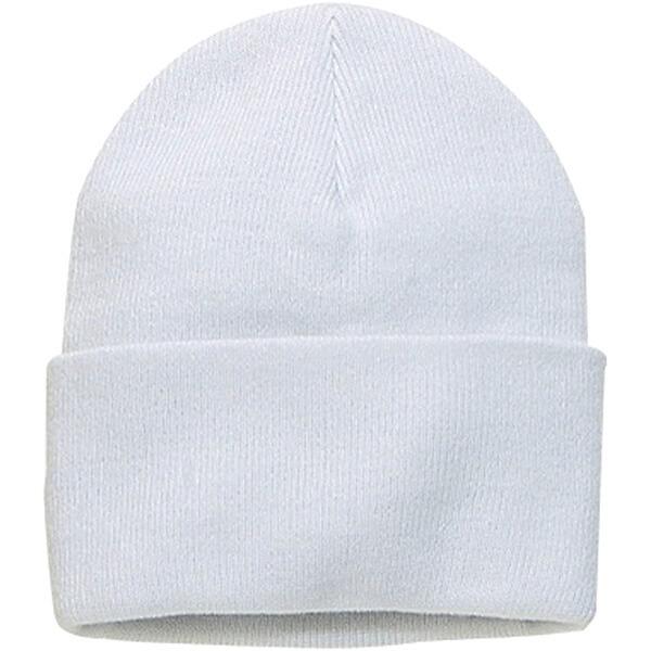 Warm Plain White Cuffed Beanie