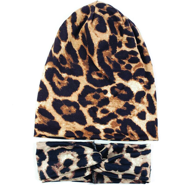 Leopard Beanie With Stylish Hair Band for Women