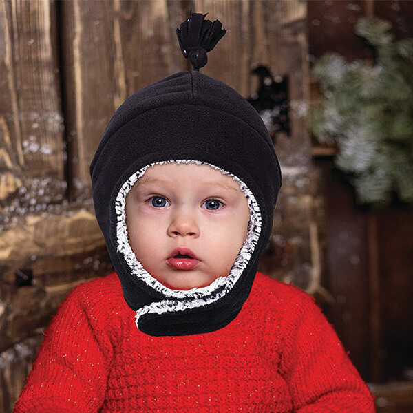 Warm Beanie With Velcro Strap And Gloves