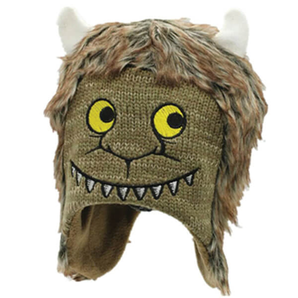Furry Face Halloween Beanie with Velcro Strap