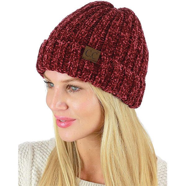 Lovely Burgundy Red Cuffed Beanie for Women