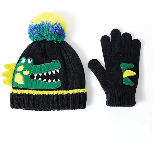 Warm Soft To Touch Knot Dino Beanie for Newborns