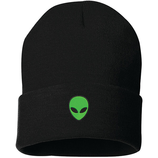 Alien Icon Embroidered Cuffed Beanie