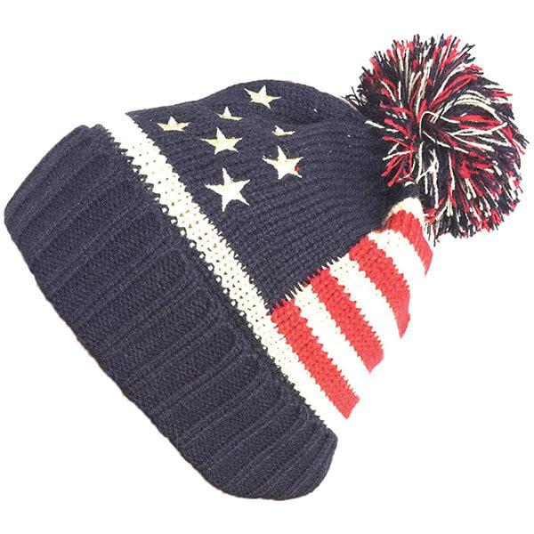 American Flag Knit Patriotic Beanie with Pom-Pom