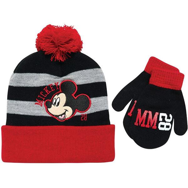 Cuffed Pom-pom Mickey Beanie With Gloves