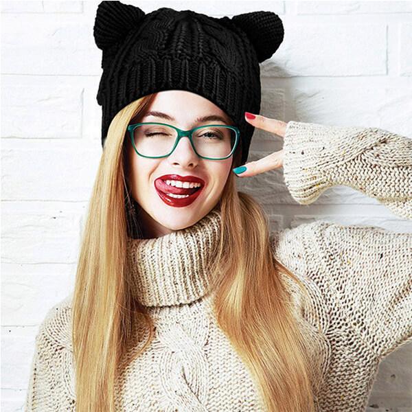 Cute Cat Ear Beanie For Girls