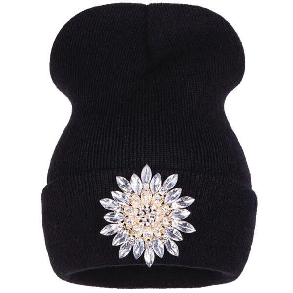 Luxury Flower Crystal Beanie for Women