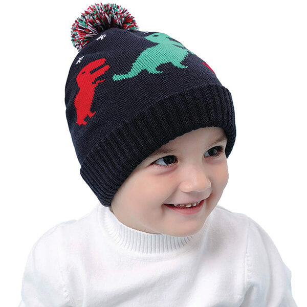 Pom-pom Dinosaur Beanie For Toddlers for Under 4 Years