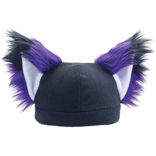 Soft Purplish Furry Beanie With Fox Ears