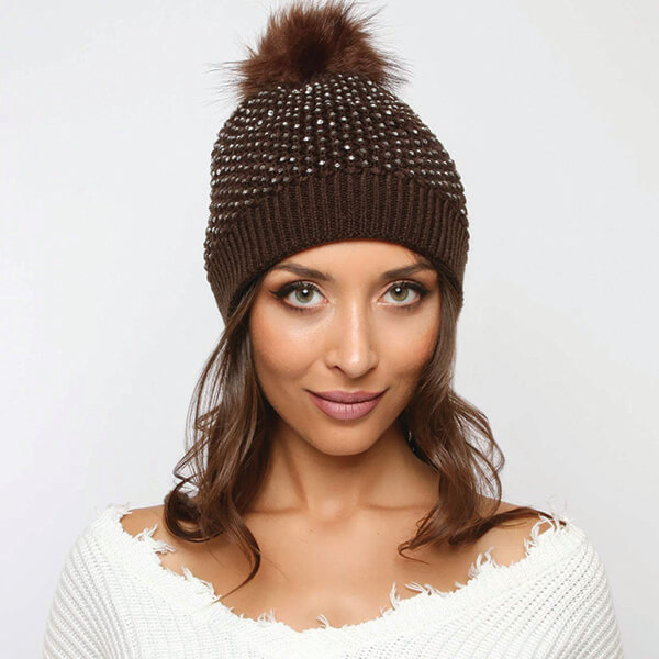 Unique Women's Knit Pom Rhinestone Beanie
