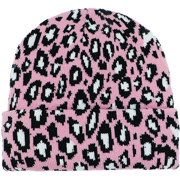 Warm Casual Style Pink Leopard Beanie