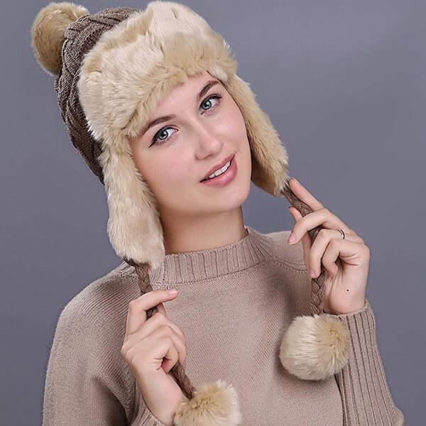 Women`s Earflap Hat Faux Fur Knit Hat