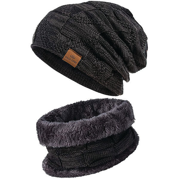 Slouchy Double-layered Acrylic Beanie with Scarf
