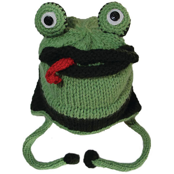 Tongue Out Frog Handmade Beanie with Tie Straps