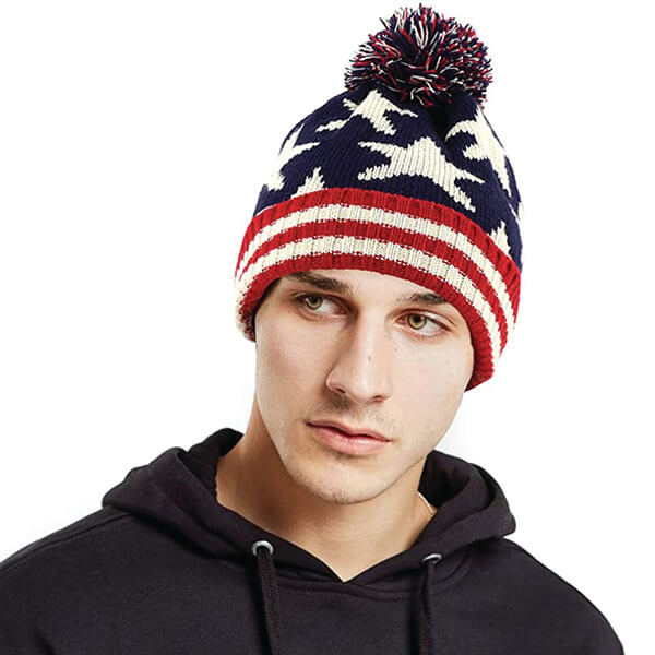 American Flag Knitted Slouchy Beanie with Pom-Pom