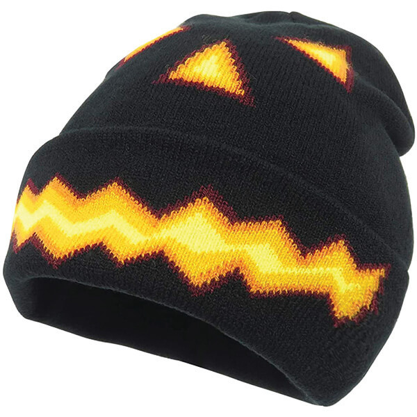 Fiery Face Halloween Beanie for All Adults