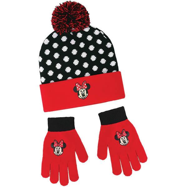 Minnie Mouse Winter Pom Pom Beanie and Gloves
