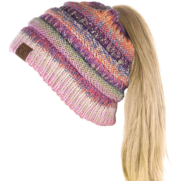 Ponytail Multicolored Beanie for A Sporty Look