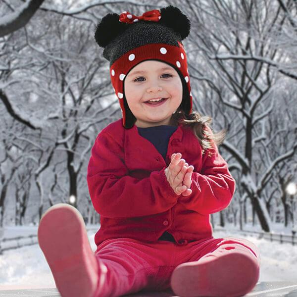 Pretty Pom-pom Ears Minnie Beanie with Bow And Gloves