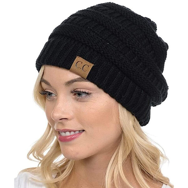 Ribbed CC Beanies for Women