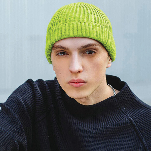 Safety Reflective Neon Green Folded Beanie at Low Price