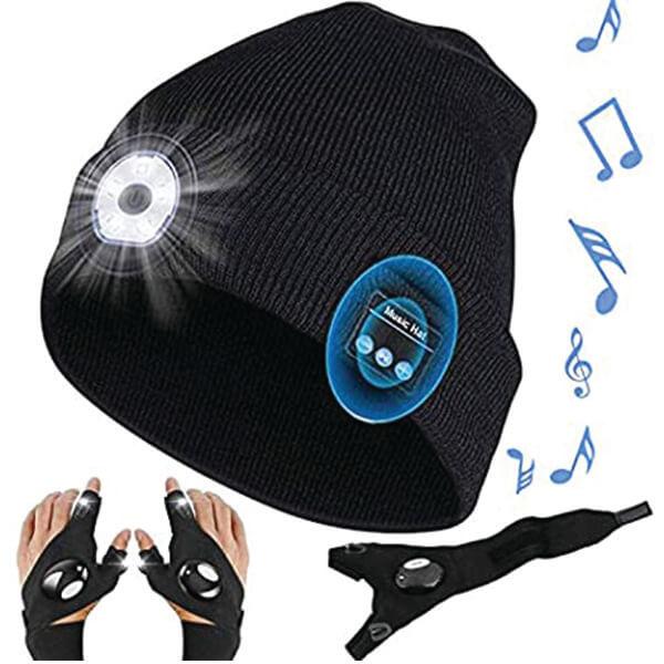 Useful LED Beanie With LED Flashlight Gloves