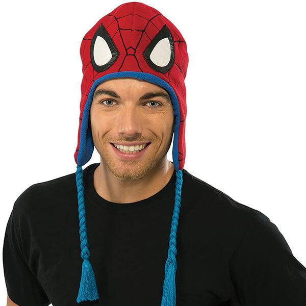 Warm Adult Spiderman Beanie With Tie Straps