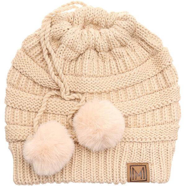 Women's Ponytail Hat With Adjustable Pom Pom String