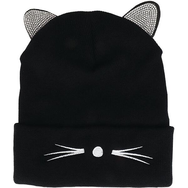 Cute Rhinestone Cat Ear Beanie