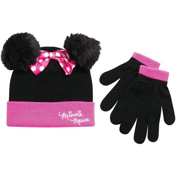 Fashion Forward Pink Minnie Pom-Pom Beanie With Gloves