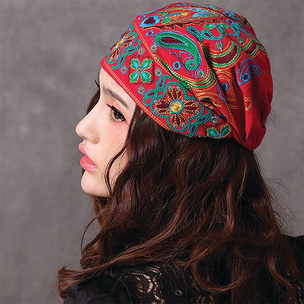 Floral Patterned Turban Beanie for Women