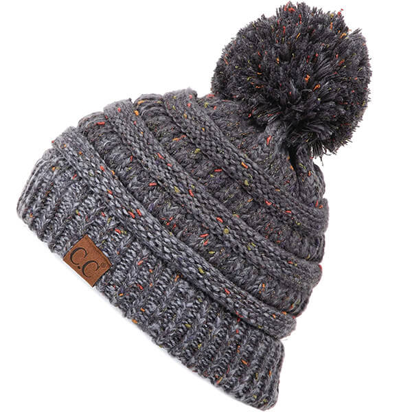 Knitted Acrylic Beanie With a Ball On Top