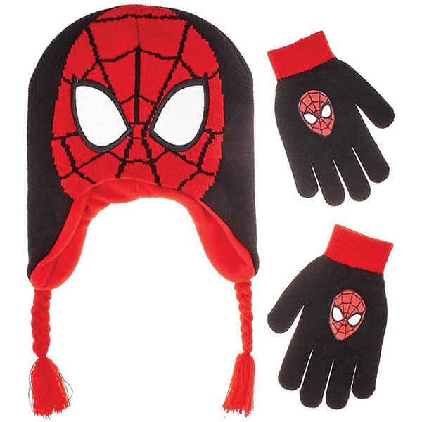 Protective One Size Spiderman Beanie With Mittens