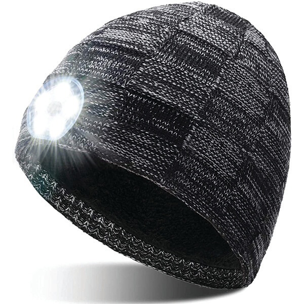 Rechargeable LED beanie With 5 LED Lights
