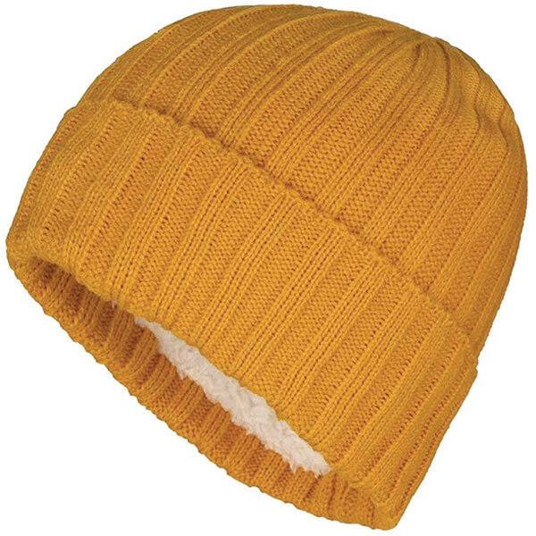 Rib Knit Cuff Yellow Beanie With Fleece Lining
